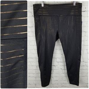 JOY LAB | high waist metallic stripe crop leggings